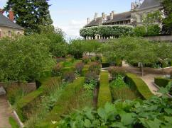 From an upper garden section and with a view of the chateau in the distance.
