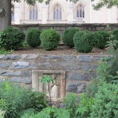 Younger boxwoods grow in a bed set on a higher tier of the upper wall with 16th c. bas relief.