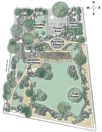 Current garden plan via Tudor Place Foundation website.
