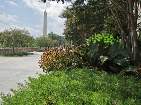 The south side of the Museum of American History and the Washington Monument.
