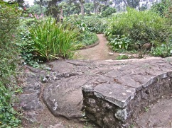 Existing volcanic rock was incorporated into a low wall and steps.