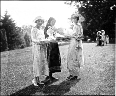 A 1920 lawn fete for Near East Relief. Twin Oaks was a 30-acre estate in Cleveland Park in Washington, D.C., built in 1888 by the first President of the National Geographic Society and owned at the time of this photo by his daughter, Grace.