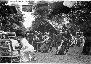 1911 lawn party on Governor's Island, N.Y.  The event was annually sponsored by the Army Relief Society, which raised money for regular army widows and orphans.