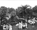"A tea party in ""Plant Park"", which was an attraction of the Gilded Age Tampa Bay Hotel.  The park and building still exist as part of the University of Tampa.  There was a small zoo in the park, which may explain the posts (fence?) around the pond."