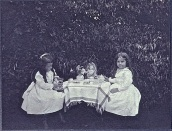 Sometimes a garden party can be for just two (or four). About 1900, photographer unknown.