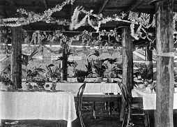 Outdoor decorations under the shade-house roof, ca. 1905.