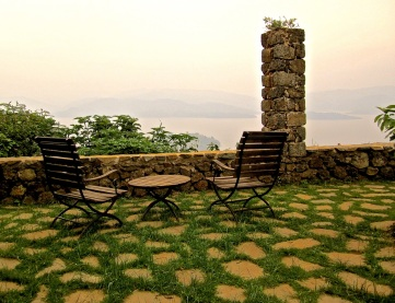 Overlooking the lake at dusk.