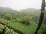 Sunken garden in the fog.