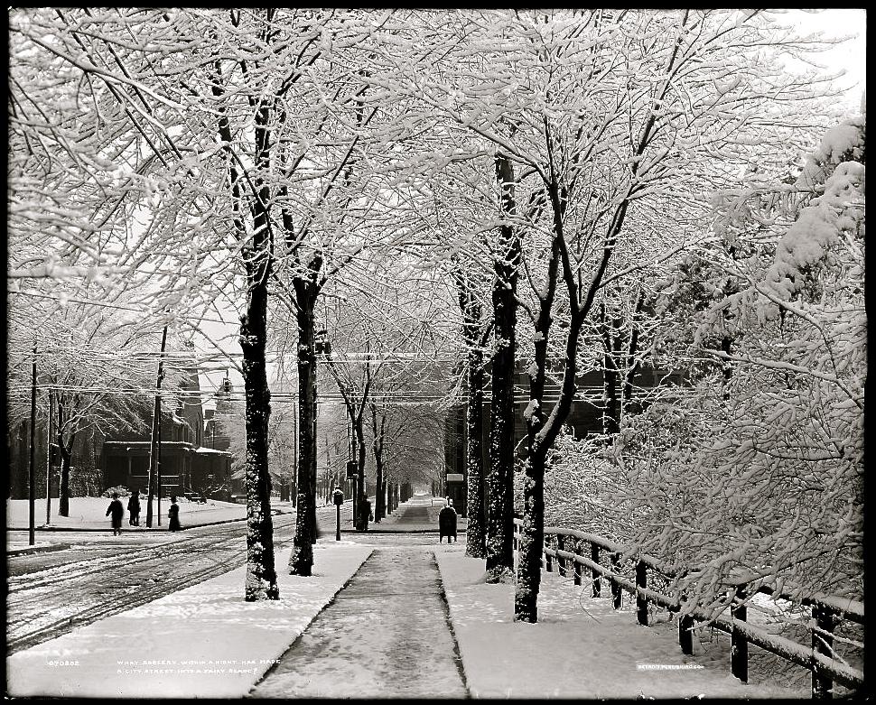vintage landscape snowy city street � enclosure