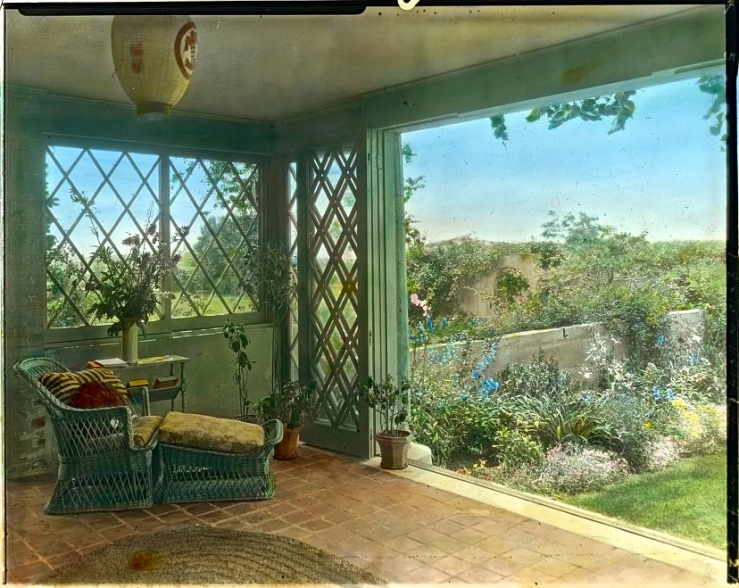 Sunroom in the house overlooking the walled garden.