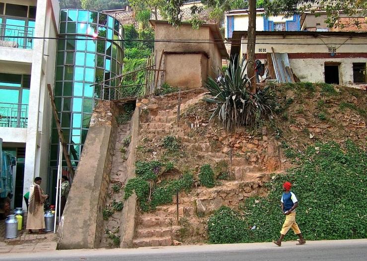 Roadside steps, Muhima sector, Kigali, Rwanda/enclos*ure