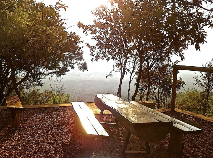 Picnic table, welcome center, Akagera Nat'l. Park in Rwanda:enclos*ure