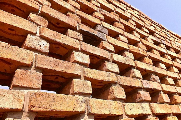 Handmade bricks, Women's Opportunity Center, Kayonza, Rwanda. Supported by Women for Women International and designed by Sharon Davis Design./enclos*ure