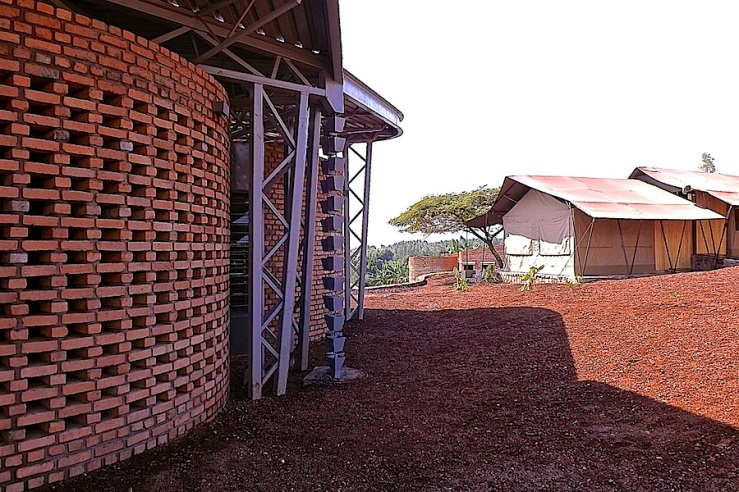 Handmade bricks and rain chain, Women's Opportunity Center, Kayonza, Rwanda. Supported by Women for Women International and designed by Sharon Davis Design./enclos*ure