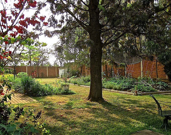 The cutting garden (left) and the vegetable garden (right).