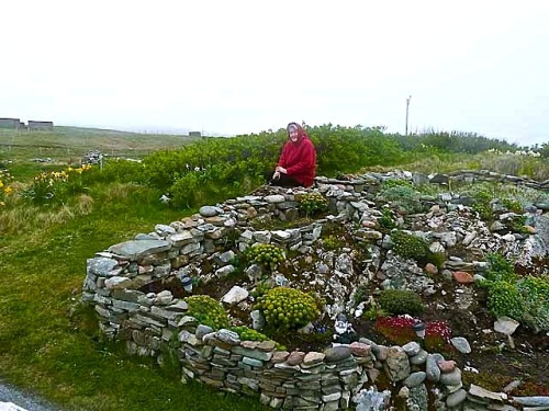 "Garden and gardener at Gravens, Shetland Islands, by Oliver Dixon.  He wrote: ""Despite the unpromising climate, there are some very keen gardeners on Shetland, with some fine examples of rock gardens."""