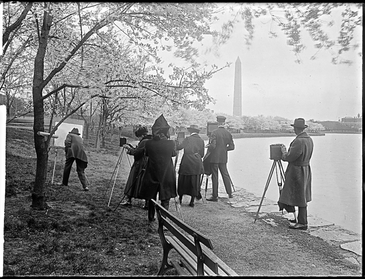 """Photographers shooting cherry blossoms, Washington D.C., April 7, 1922,"" by National Photo Company, Library of Congress Prints and Photographs Division."