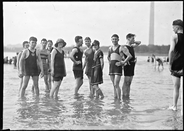 """Bathing Beach,""  Washington, D.C., Tidal Basin, ca. 1912-1930, by National Photo Company, Library of Congress Prints and Photographs  Division."
