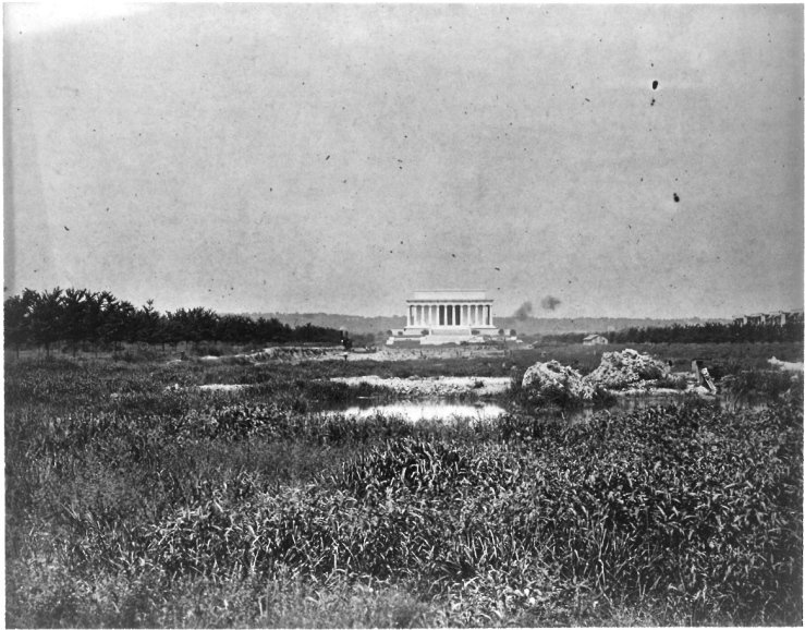 """Lincoln Memorial with Marsh in foreground,"" 1917, by National Photo Company, Library of Congress Prints and Photographs Division."