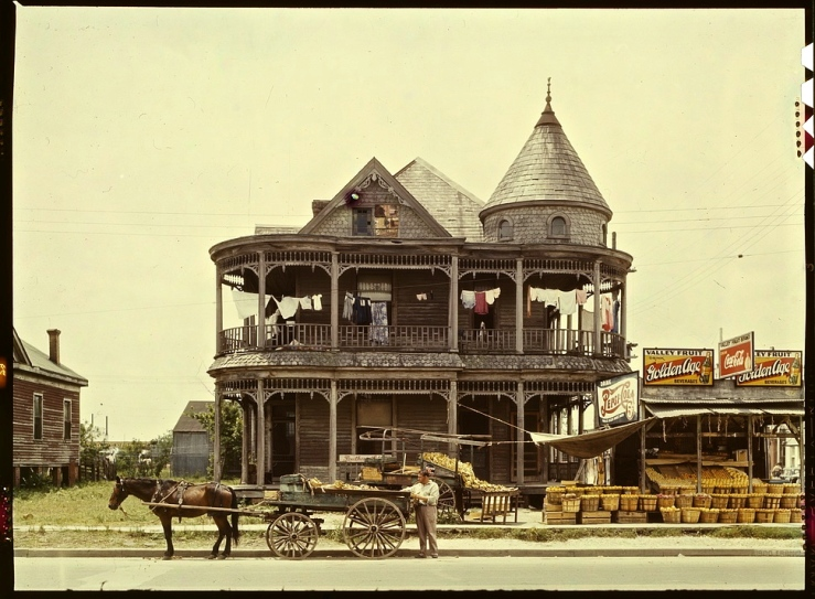 Old house in 1940s Houston, by John Vachon, Library of Congress