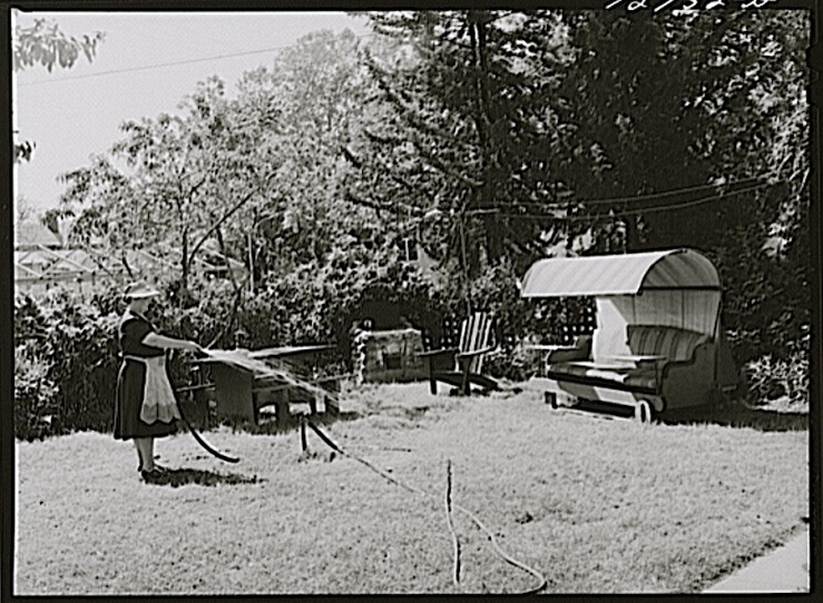 Back yard, Turlock, CA, 1943, by Russell Lee, Library of Congress