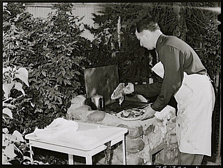 Grillling steaks, Turlock, CA, 1943, by Russell Lee, Library of Congress