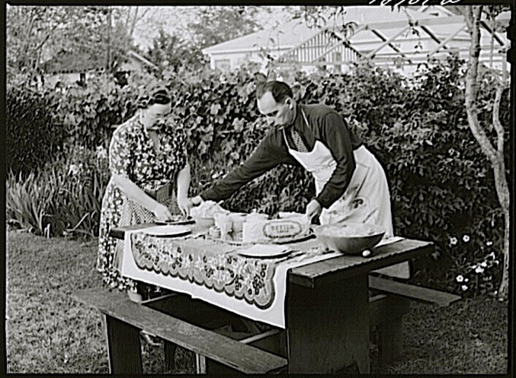 Setting the table, Turlock, CA, 1943, by Russell Lee, Library of Congress