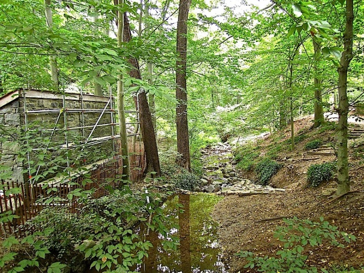 The stream at Dumbarton Oaks Park, now under restoration/enclos*ure