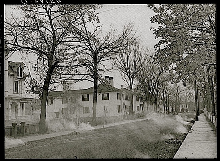 Burning the autumn leaves on Broadway in Norwich, Connecticut, 1940, by Jack Delano, Library of Congress