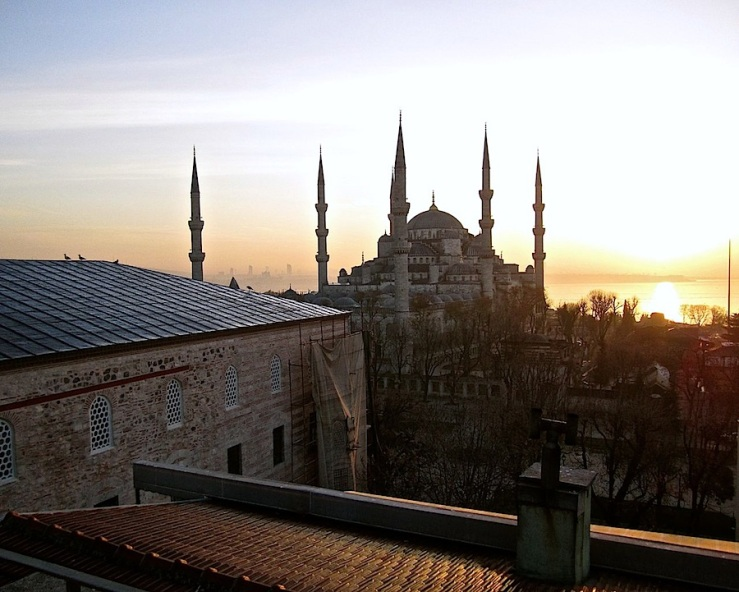 Blue Mosque, Instanbul, about sunrise, Dec. 26:enclos*ure