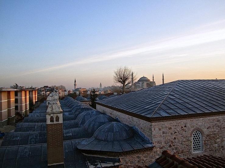 Hagia Sophia, Instanbul, about sunrise, Dec. 26:enclos*ure