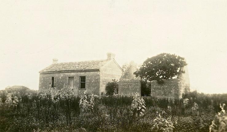 Vintage landscape/enclos*ure: 1935 ruin, Lamar, TX, F. Ratchford, Texas State Archives