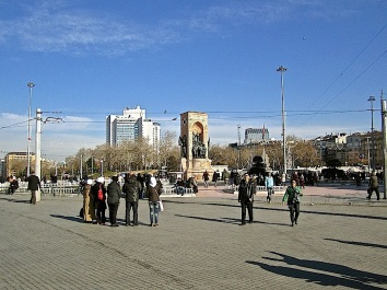 A monument to the Turkish military in the center of the huge paved area.