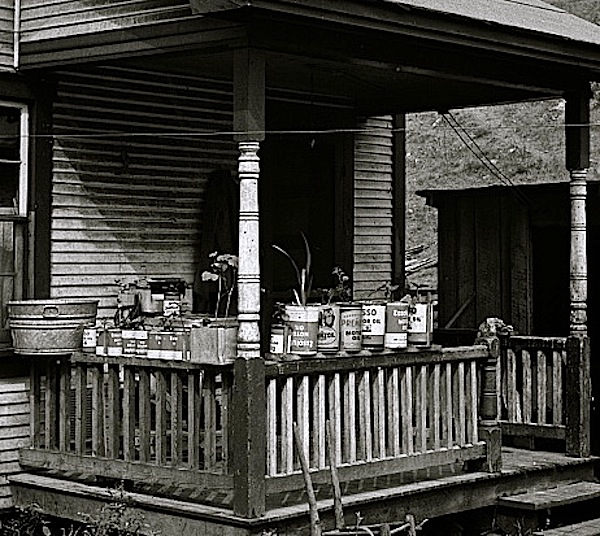 The Sunday porch/enclos*ure: detail, miner's house in Capels, W.V.,1938, by Marion Post Wolcott, via Library of Congress