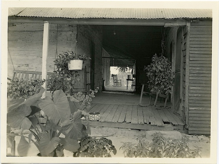 The Sunday porch/enclos*ure: dogtrot in Texas, 1935, probably by Fanny Ratchford, via Texas State Archives Commons on flickr