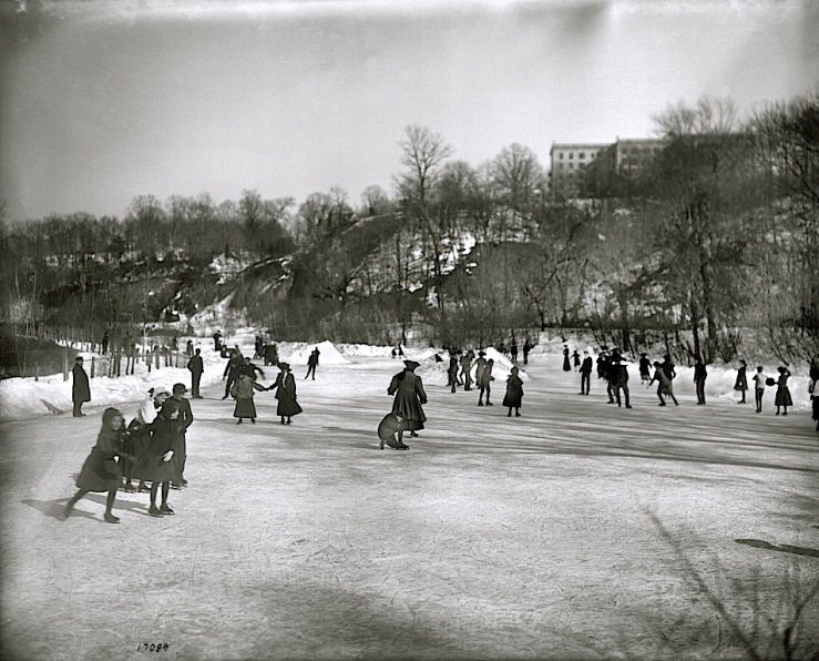 Vintage landscape/enclos*ure: skaters on Rock Creek, 1905, via Smithsonian Institution Commons, flickr