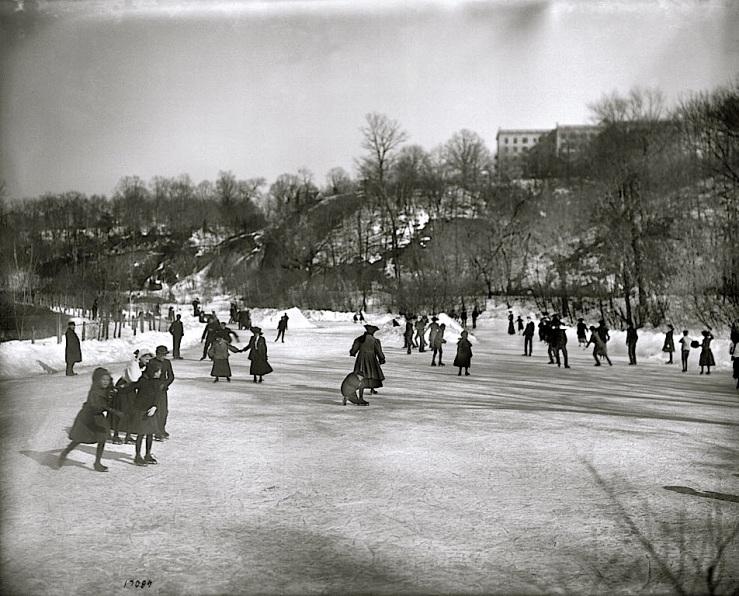 Vintage landscape/enclos*ure: skaters on Rock Creek, 1905, via Smithsonian Institution Commons, flickr