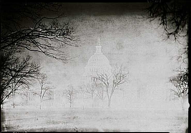 U.S. Capitol in snow, ca. 1920-1950, via Library of Congress