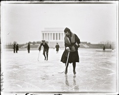 Vintage landscape/enclos*ure: ice skaters on the Lincoln Memorial Reflecting Pool, Jan. 1922, Washington, DC, via Library of Congress