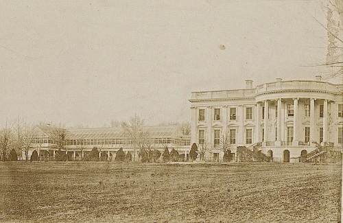 The White House and conservatory in 1857 by Lewis Emory Walker.