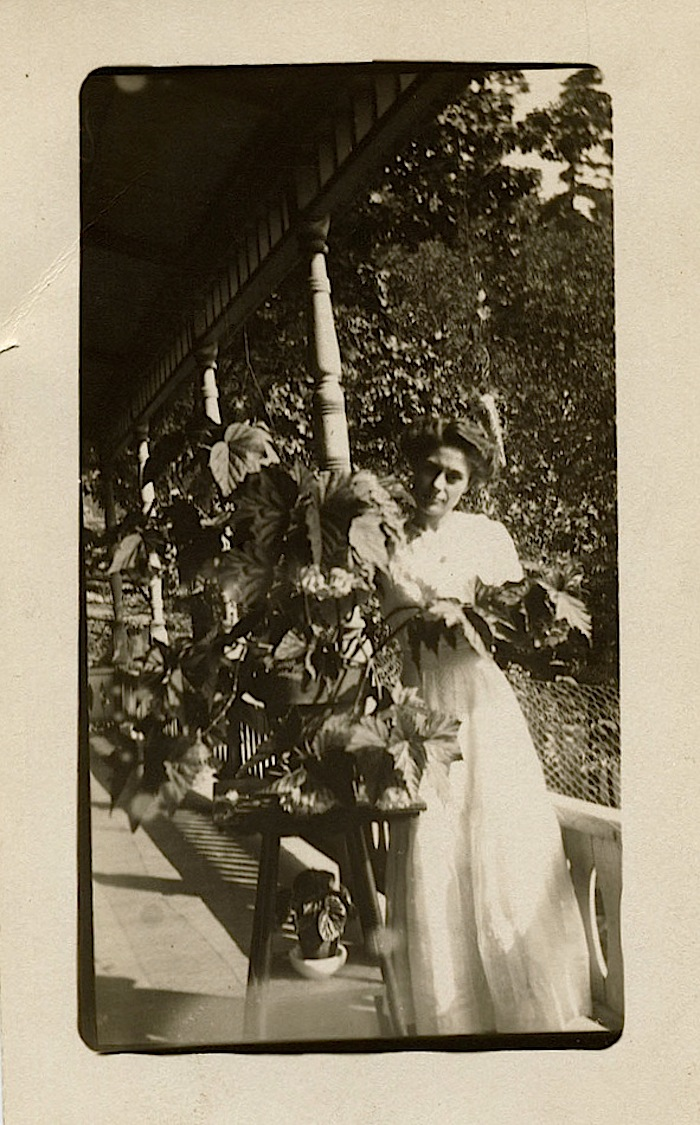 The Sunday porch/enclos*ure: woman with begonia, via Texas State Archives on flickr