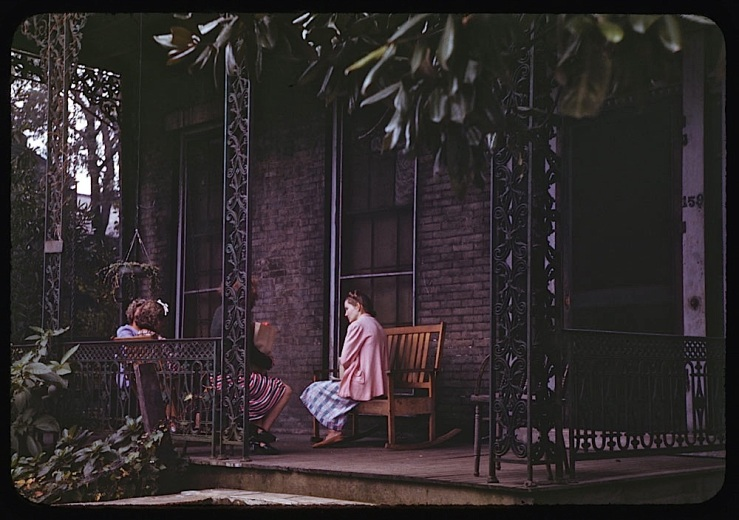 1941 porch in Mobile, Alabama, by C.W. Cushman