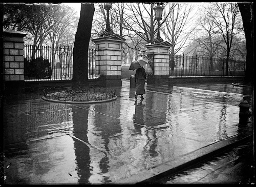 Showers, White House, early 1920s, via Library of Congress