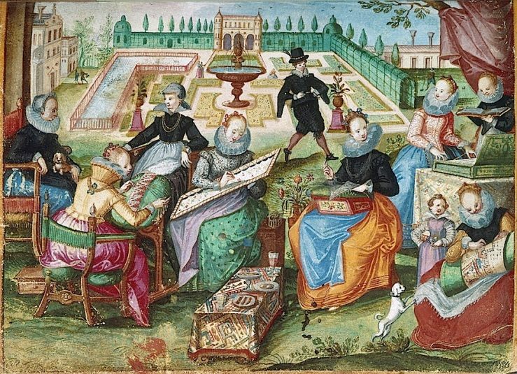 Embroidering in the garden, via British Library