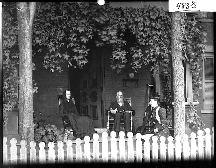Mrs. C.E. Kumler family on front porch, by Frank Snyder, via Miami University Libraries Commons on flickr