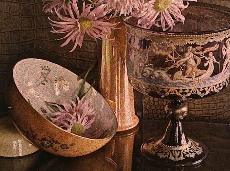 Pink flowers and bowl, detail, via Geo. Eastman Hse.