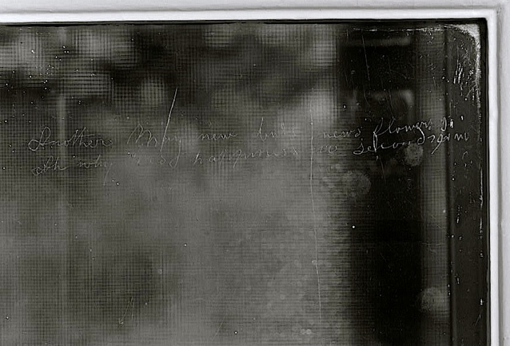 Poem on window pane (detail), HABS, Library of Congress