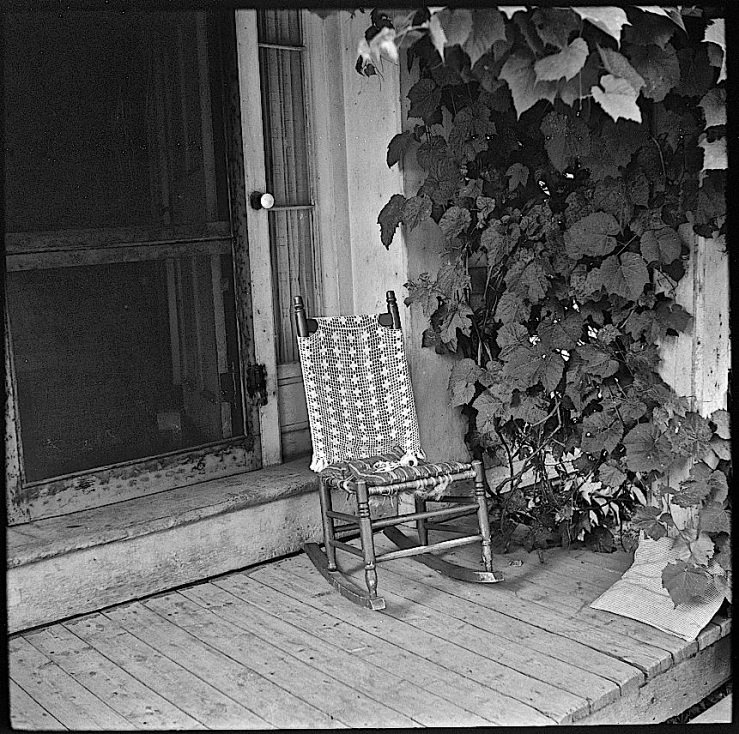 Porch and chair w/ tatted cover and tatting tools, L. Rosskam, Library of Congress, 1940