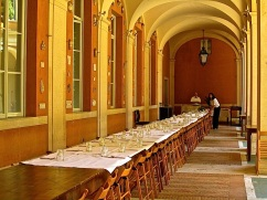 The table was set for lunch for the artists and scholars.