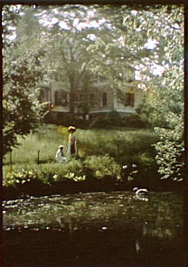 Vintage landscape/enclos*ure: woman and child, Arnold Genthe